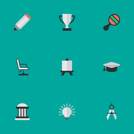 Elements Goblet, Measurement Dividers, Racket And Other Synonyms Board, Painting And Dividers.  Vector Illustration Set Of Simple Knowledge Icons. Illustration