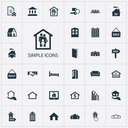 Elements Open Door, Insurance, Property And Other Synonyms Monitor, Advertisement And Sign.  Vector Illustration Set Of Simple Estate Icons. Ilustração