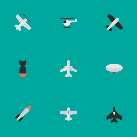 Elements Airliner, Craft, Aviation And Other Synonyms Copter, Flying And Rocket.  Vector Illustration Set Of Simple Plane Icons.