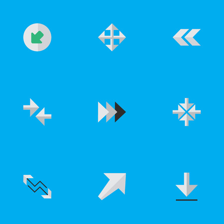 Elements Arrow, Loading, Northwestward And Other Synonyms Backward, Download And Enlarge.  Vector Illustration Set Of Simple Indicator Icons. Illustration
