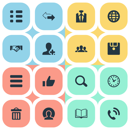Elements Agreement, Thumb Up, Staff And Other Synonyms Bin, Office And Up.  Vector Illustration Set Of Simple Team Icons.