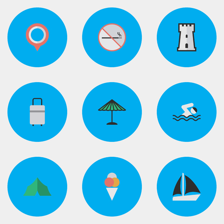 Elements Sorbet, Schooner, Pool And Other Synonyms Camping, Boat And Tower.  Vector Illustration Set Of Simple Holiday Icons. Illustration