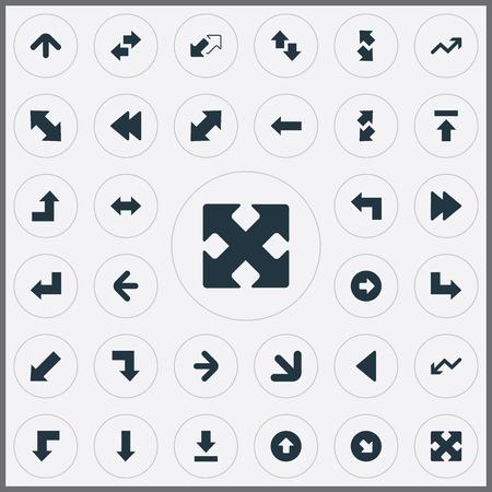 Elementos Way-Right, Let Down, Raise-Fall Y Otros Sinónimos Four Directions Arrows, Down And Falling. Ilustración vectorial Conjunto de iconos de flechas simples. Foto de archivo - 84003774