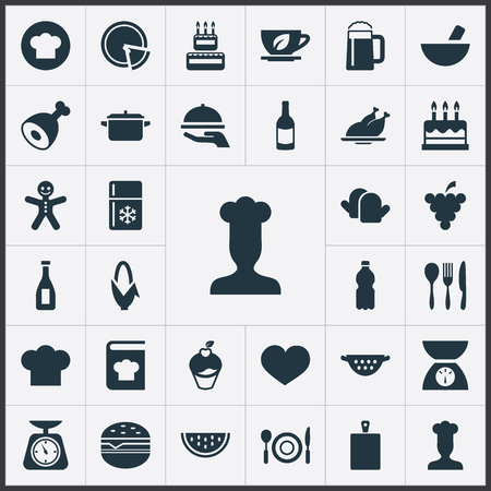 Elements Cooking Uniform, Saucepan, Balsamic Vinegar And Other Synonyms Dish, Scales And Noodles.  Vector Illustration Set Of Simple Preparation Icons. Illustration