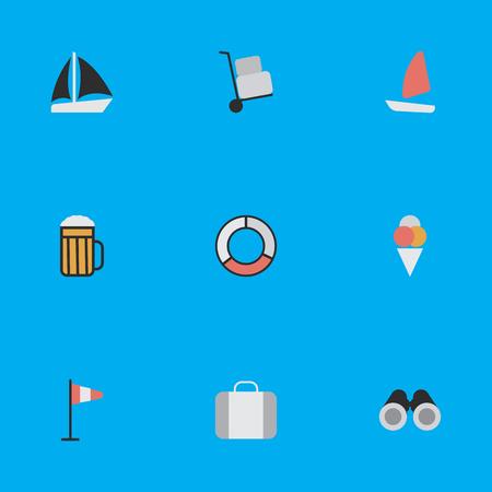 Elementen pub, optische zoom, lading en andere synoniemen boot, bagage en alcohol. Vectorillustratiereeks Eenvoudige Reispictogrammen.