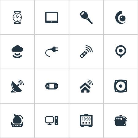 もの、スマートハウス、ティーポット、類義語などの要素インター ネット ロック、インターネット。 単純なデバイスのアイコンのベクトル イラス