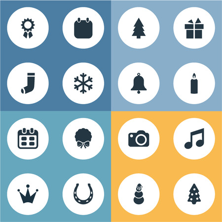 Set Of Simple Christmas Icons.