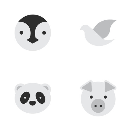 Set Of Simple Zoo Icons.