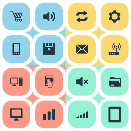 Elements Computer, Dossier, Reload And Other Synonyms Knob, Router And Display.  Vector Illustration Set Of Simple Device Icons.