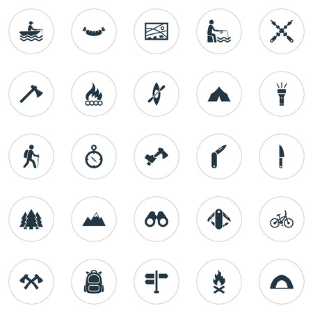 Elements Bonfire, Camper, Kebab And Other Synonyms City, Forest And Bike.  Vector Illustration Set Of Simple Outdoor Icons. Ilustração