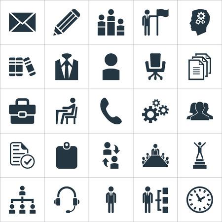要素帳、グループ、時計、その他類義語ドキュメント構造とメカニズム。 単純な人間のアイコンのベクトル イラスト セット。  イラスト・ベクター素材