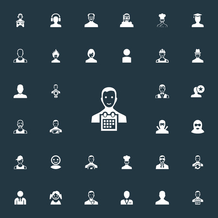 Elements Award Owner, Person, Spy And Other Synonyms Professional, Speedometer And Profile.  Vector Illustration Set Of Simple Human Icons.
