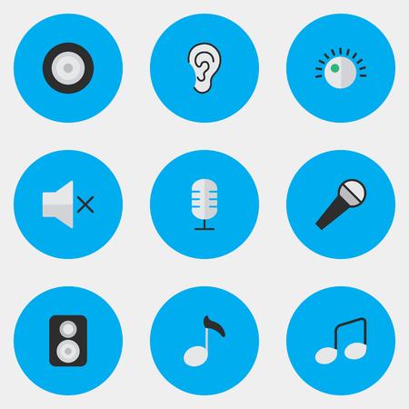 要素のスピーカー、ボリューム、マイク、他の同義語聞く、レギュレータと耳。 単純な音楽アイコンのベクター イラスト セット。