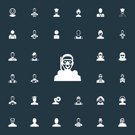 Elements Paparazzi, Player, Workman And Other Synonyms Genius, Fatigue And Player.  Vector Illustration Set Of Simple Member Icons.