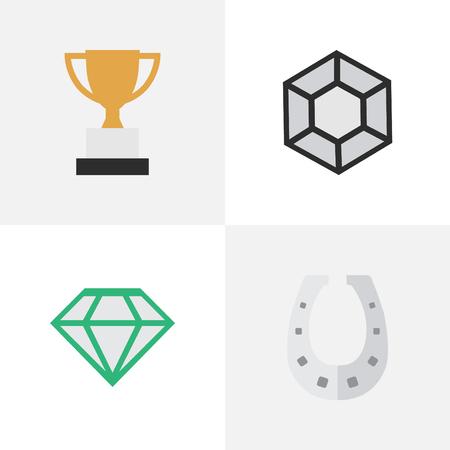 華麗な要素、宝石、ゴブレット、他の同義語の華麗なダイヤモンドし、馬蹄。 簡単なトロフィー アイコンのベクター イラスト セット。