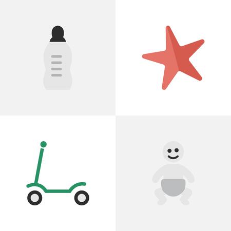 Set van eenvoudige Kid pictogrammen. Stock Illustratie