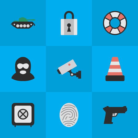 Set Of Simple Offense Icons. Illustration