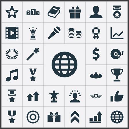 Set Of Simple Achievement Icons. 向量圖像