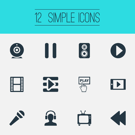 Set Of Simple  Icons. Elements Stop, Filmstrip, Playlist And Other Synonyms Karaoke, Pointer And Stop. Ilustração