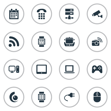 Set Of Simple Smart Icons. Elements Datacenter, Surveillance, Smart Watch And Other Synonyms Datacenter, Cctv And Smart.