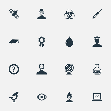 Illustration Set Of Simple Knowledge Icons. Elements Student, Researcher, Graduation Hat And Other Synonyms Earth, Professor And Growth. Illustration