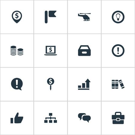 Set van eenvoudige handel iconen. Elementen Boekenplank, Dossier, Monitor en andere synoniemengrafiek, koffer en hulp. Stock Illustratie