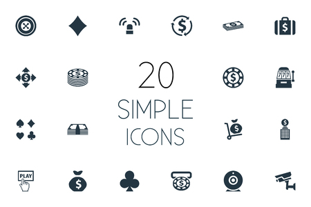 Simple Gambling Icons. Çizim
