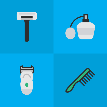 glass reflection: Set Of Simple Barber Icons.