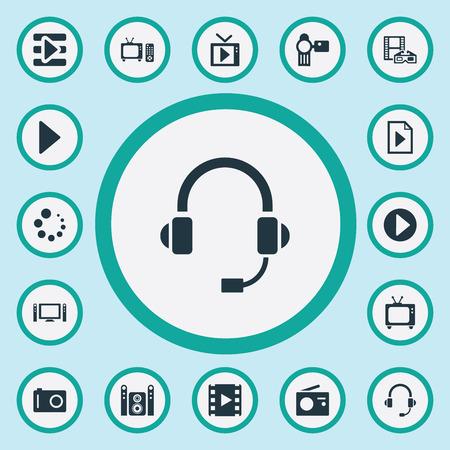 Set van eenvoudige Multi-pictogrammen. Elementen document, begin, start audio en andere synoniemenmultimedia, knop en menu.