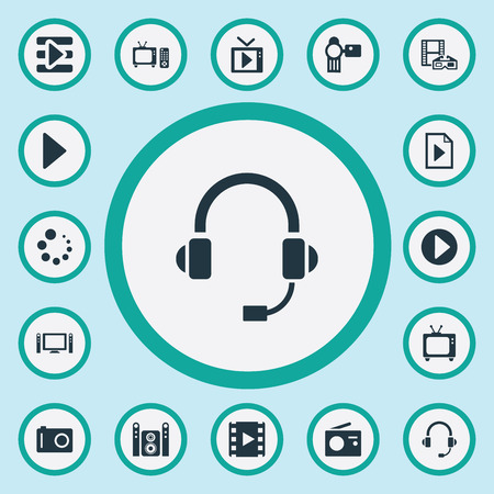 Set Of Simple Multi Icons. Elements Document, Begin, Start Audio And Other Synonyms Multimedia, Button And Menu.