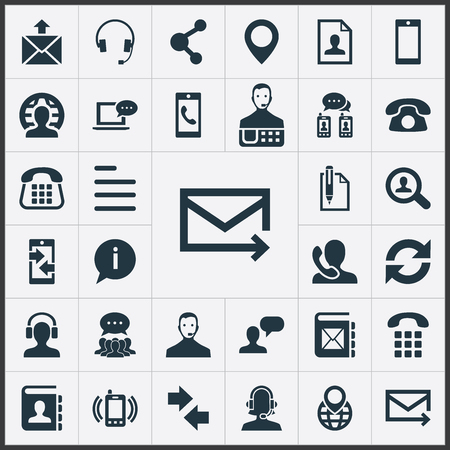 Set Of Simple Contact Icons.