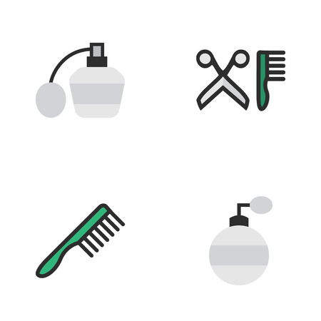 Set Of Simple Shop Icons. Elements Fragrance, Comb, Perfume And Other Synonyms Hairbrush, Comb And Scissors. Illustration