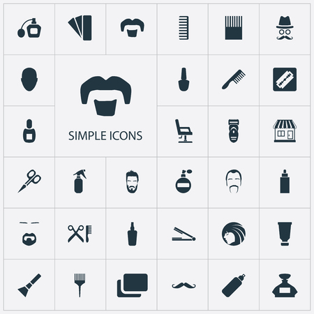 Set Of Simple Beautician Icons. 版權商用圖片 - 84057511