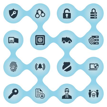 Set van eenvoudige veilige pictogrammen. Stock Illustratie