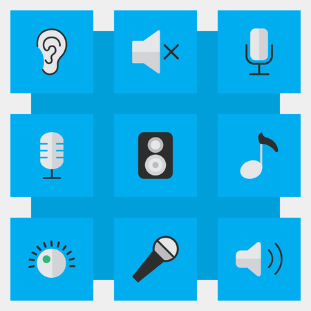 Elements Speaker, Record, Volume And Other Synonyms Ear, Loudness And Mute. Illustration