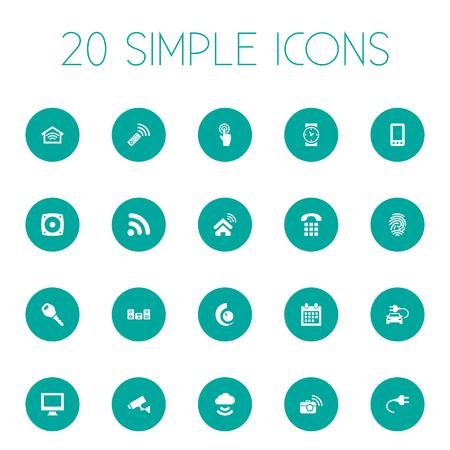 Elementi Storage Acceess, Smart House, connessione wireless e altri sinonimi Internet, Mobile e Socket. Illustrazione vettoriale Set of Simple Smart Icons. Archivio Fotografico - 84004332