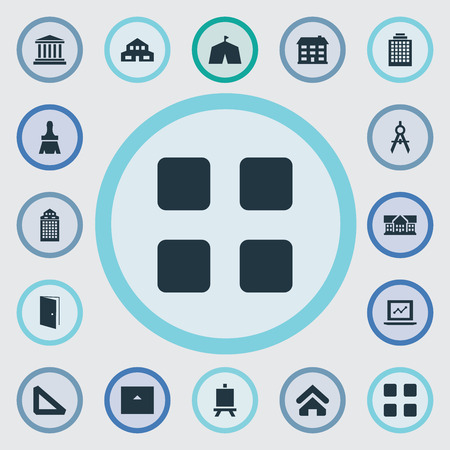 Elements Farmhouse, Blueprint, Besom And Other Synonyms House, Painting And Direction.  Vector Illustration Set Of Simple Architecture Icons. Ilustrace