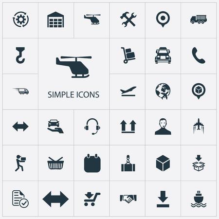 Elementen onderkant, marker, bescherm auto en andere synoniemendoos, periode en winkel. Vectorillustratiereeks Eenvoudige Systematiseringpictogrammen.