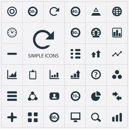 Set Of Simple Diagram Icons. Elements Watch, Seventy, Surge And Other Synonyms Price, Text And Percentage. Ilustração