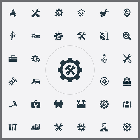 Set Of Simple Fixing Icons. Elements Refit, Toolbox, Workman And Other Synonyms Van, Toolkit And Caution. 向量圖像