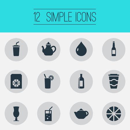 Set Of Simple Drinks Icons. Иллюстрация