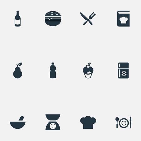 Set van eenvoudige keuken pictogrammen. Stock Illustratie