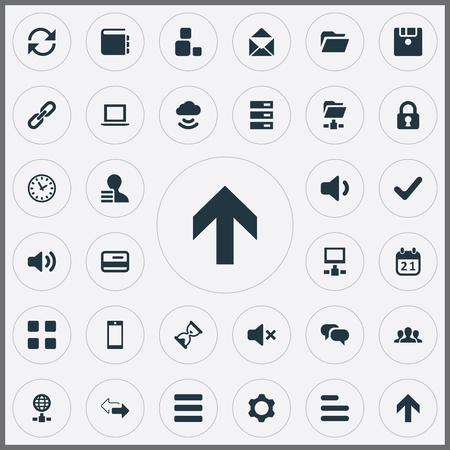 벡터 일러스트 레이 션 간단한 연습 아이콘의 집합입니다. 요소 확인, 다시로드, 채팅 및 기타 동의어 날짜, 사용자 및 타이머. 일러스트
