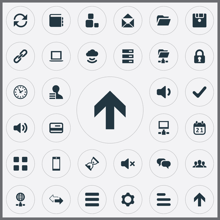 Vector Illustration Set Of Simple Practice Icons. Elements Check, Reload, Chatting And Other Synonyms Date, User And Timer.