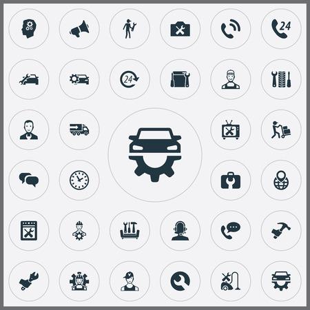 간단한 도움말 아이콘의 집합입니다. 요소 복원, 개조 장비, 택배 및 기타 동의어 도움말, 배달 및 기술.