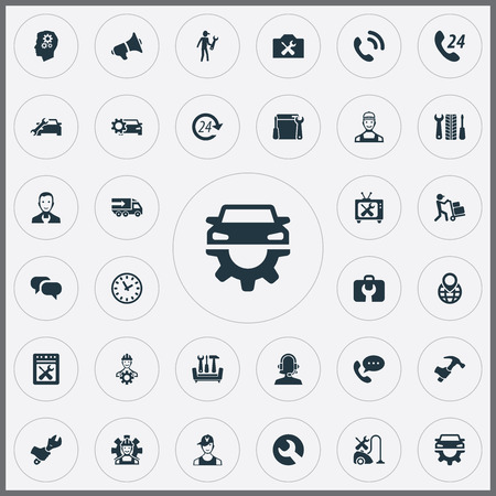Set Of Simple Help Icons. Elements Restoration, Renovation Equipment, Courier And Other Synonyms Help, Delivery And Technology.