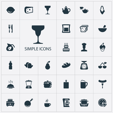 Set Of Simple Cuisine Icons.