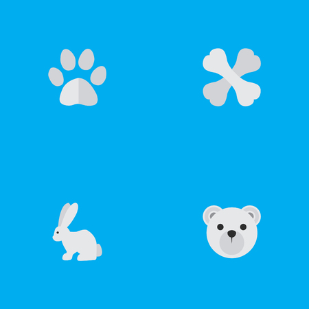 Set Of Simple Wild Icons. Elements Hare, Panda , Skeleton Synonyms Panda, Food And Rabbit.