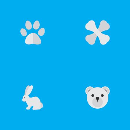 Set van eenvoudige wilde pictogrammen. Elementen Haas, Panda, Skelet Synoniemen Panda, Voedsel en Konijn. Stock Illustratie