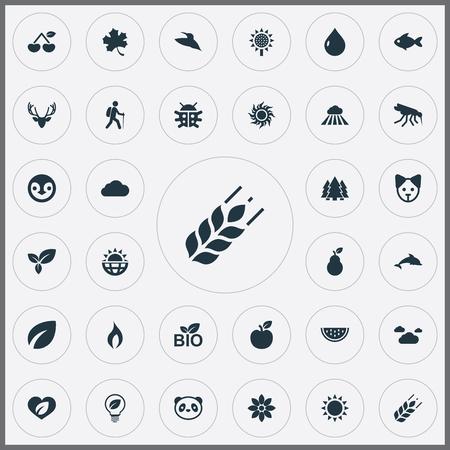 Set van eenvoudige ecologie pictogrammen.